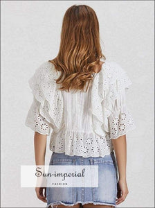 Anne top in White - Lace Blouse for Women Square Collar Ruffles Puff Sleeve Crop Casual Blouse, Sleeve, Shirt, Collar, vintage SUN-IMPERIAL