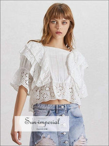 Anne top in White - Lace Lace Blouse for Women Square Collar Ruffles Puff Sleeve Crop top