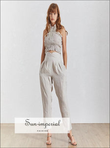 Sun-Imperial Annie Pant Set - Women Solid Apricot Two Piece Pants Set Sleeveless top