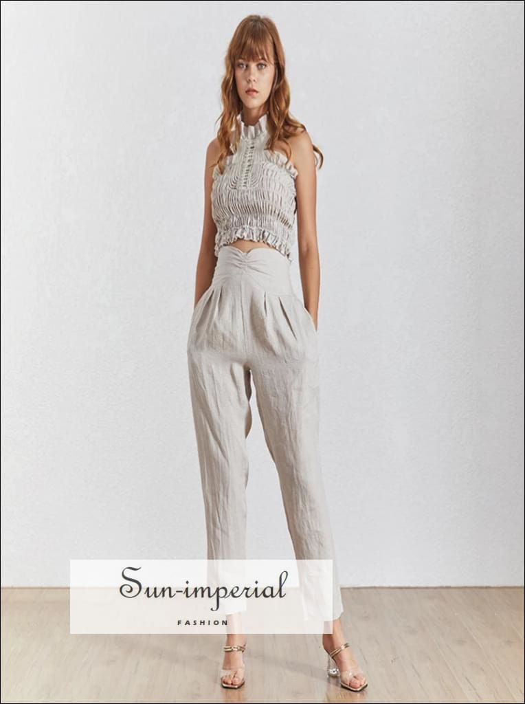Annie Pant Set - Women Solid Apricot Two Piece Pants Sleeveless top Casual Sets, Off Shoulder, Sleeveless, Set, vintage SUN-IMPERIAL United