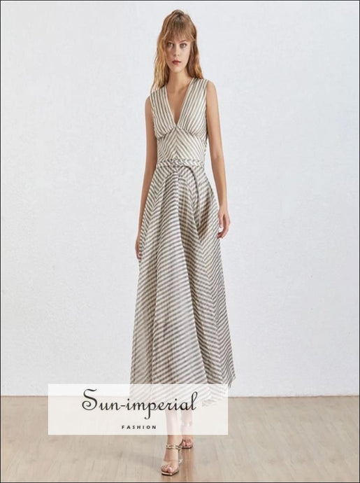 Argenteuil Dress- Elegant maxi Striped Dress For Women Deep V Neck Sleeveless Elegant Striped Dress High Waist Large Size V Neck Vintage