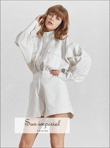 Aria Shorts Set - white Solid Casual Two Piece Set Women Turtleneck Lantern Sleeve Button Shirt High Waist Slim Shorts High Waist Lantern