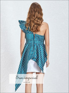 Ariana top - Green Striped Asymmetrical One Shoulder Women Ruffles Blouse High Waist Slim Cut