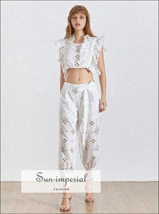 Ariel Pants Set - Lace Women Two Piece Crop top High Waist Loose Midi Ankle Length Pants, Waist, Short Sleeve, Setv, vintage SUN-IMPERIAL