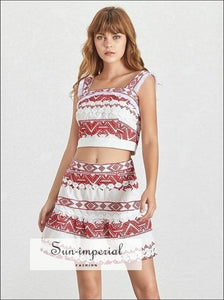 Ashley Skirt Set - Embroidery Print Two Piece Wide Strap Crop top Slim Mini Print, Off Shoulder, Short Tops, Set, vintage SUN-IMPERIAL