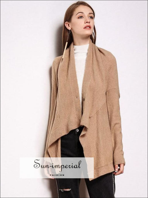 Asymmetrical Cardigan Sweater Women Elegant Shawl Collar Drapped Knitted Cardigans SUN-IMPERIAL United States
