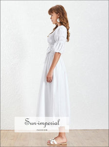 Aubrey Dress - White Dress V Neck Puff Short Sleeve High Waist Belted Dress