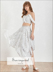 Austin Skirt Set - white Polka Dot maxi asymmetrical skirt set with Off the Shoulder crop Top Midi Skirt Off Shoulder Polka Dot Two Piece