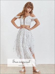 Austin Skirt Set - White Polka Dot Maxi Asymmetrical Skirt Set with off the Shoulder Crop top