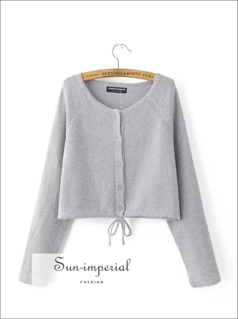 Autumn Fashion Women Drawstring Cardigans Long Sleeve Female Knitted Casual Sweaters