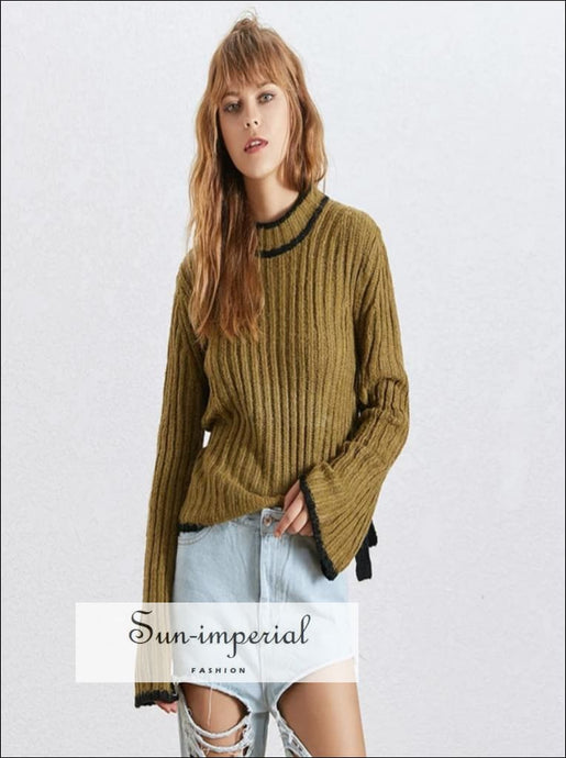 Avi Sweater - Autumn Knitted Pullover Sweater For Women O Neck Flare Sleeve Autumn Knitted Sweater Bowknot Bandages Flare Sleeve O Neck