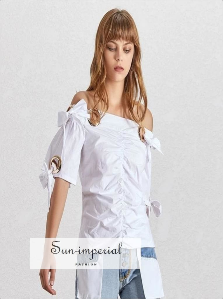 Azalea top - Elegant off Shoulder Women White Blouse Short Sleeve Bow Knot Ruched Slim Cut