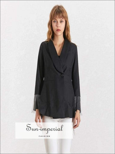 Backless Blazer - Women Long Sleeve Black SUN-IMPERIAL United States