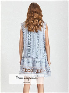 Bambi Dress - Casual Lace mini O Neck Sleeveless Loose Mini Dress Casual O Neck Off Shoulder Sleeveless vintage SUN-IMPERIAL United States