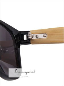 Bamboo Sunglasses Unisex Travel Vintage Wooden Leg Fashion Eyeglasses - Gold Frame Yellow SUN-IMPERIAL United States