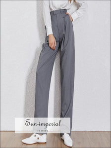 Barcelona Pants - Solid Women Wide Leg High Waist Trousers Big Size, Waist, Straight Pants, vintage, SUN-IMPERIAL United States