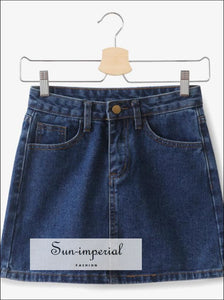 Basic Denim Mini A-line Skirt Washed High Waist Jeans Skirts SUN-IMPERIAL United States