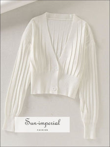 Basic Knitted Sweaters Womens Tops Elegant V-neck full Sleeve thin Cardigan cardigan, knit, knitted, knotted, sweater SUN-IMPERIAL United