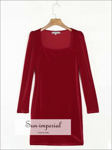 Women Red Velvet Square Neckline Bodycon Long Sleeve Mini Dress Black Dresses, bodycon dress, dresses, fitted dress SUN-IMPERIAL United