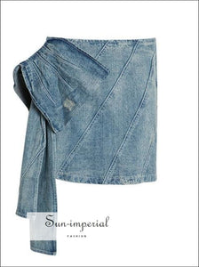 Beatrice Skirt - Solid High Waist Denim Slim Cut Asymmetrical Mini Tie Dye Jeans Skirt, Skirts, Bow, Vintage SUN-IMPERIAL United States