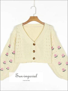 Beige Letran Long Sleeve Floral Embroidery Vintage Buttoned Cardigan Women Casual Knitted Sweater chick sexy style, vintage style