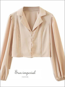 Beige Long Lantern Sleeve Elegant Buttoned Women Blouse with Turn Down Collar elegant style SUN-IMPERIAL United States