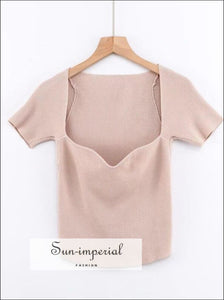 Beige Rib Knitted top Sweetheart Neck