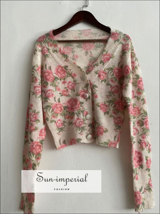 Beige Rose Print Women V-neck Long Sleeve Single Breasted Knitwear Short Cardigan Sweater casual style, Unique vintage style SUN-IMPERIAL