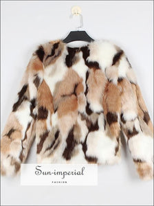 Beige White Brown Mixed Color Print Faux Fur Coat Women's Jacket Casual Fluffy thick Warm Outerwear fur coat, street style, Unique vintage