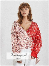 Big in Japan top - Vintage V Neck Floral Warp Women Lantern Long Sleeve Blouse Color Print, Sleeve, Slim Shirt Female, Neck, vintage