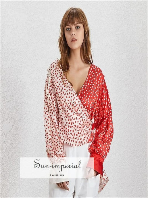 Big In Japan Top - Vintage V neck floral warp Women top Lantern long Sleeve blouse Color Print Lantern Sleeve Slim Shirt Female V Neck