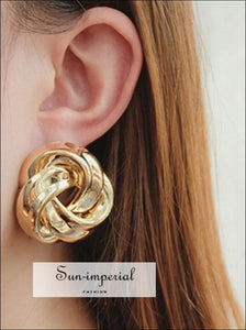 Big Vintage Metal Twisted Dangle Earrings For Women Charm Gold Color Spiral Earrings SUN-IMPERIAL United States