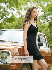 Black Adjustable Tie Straps Mini Dress with Ruffle Edge Decor SUN-IMPERIAL United States