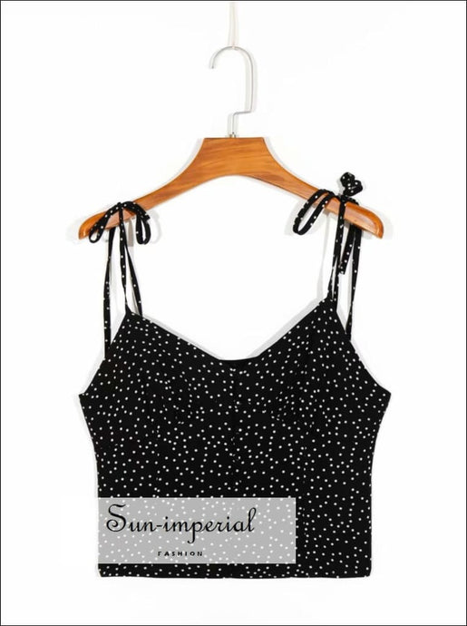 Black Cami top with White Polka Dot Tie Dye Strap Slim T Tank Women Summer Buttoned Crop SUN-IMPERIAL United States