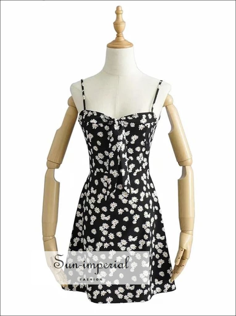 Black Floral Cami Mini Derss Sweetheart Neckline Tie front Daisy Print Dress SUN-IMPERIAL United States
