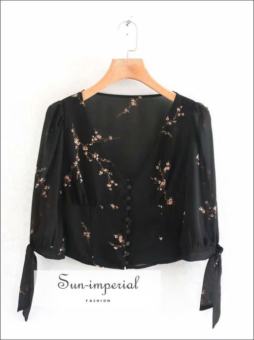 Black Floral Long Sleeve Deep V Vintage Women Blouse Center Buttoned Women top
