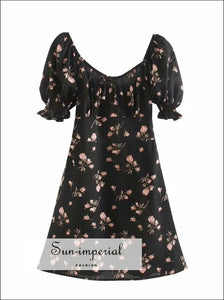 Black Floral Mini Dress a Line Ruched Square Neck Frill Sleeve with Bowknot front