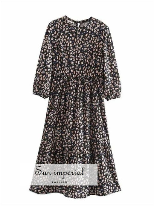 Black Floral Print Midi Dress Long Sleeve SUN-IMPERIAL United States