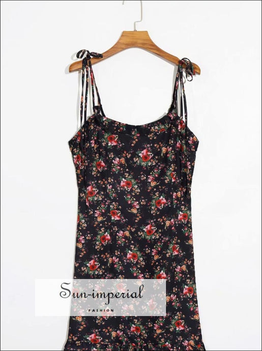 Black Floral Print Mini Dress with Tie Cross back Cami Strap and Ruffle detail chick sexy style, vintage style SUN-IMPERIAL United States