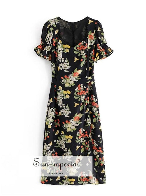 Black Floral Print Short Puff Flare Sleeve Vintage Midi Dress with side Split and Sweetheart Neck Beach Style Print, With sweetheart Detail,