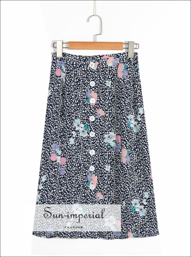 Black High Waist side Split Skirt Floral Print Center Buttons Slim Midi Skirt