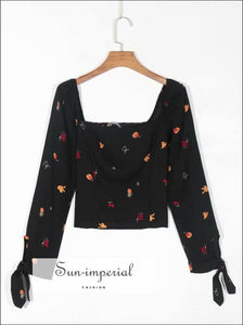 Black Long Sleeve Women Blouse with Square Collar and Fruit Print detail top chick sexy style, vintage style SUN-IMPERIAL United States