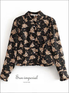 Black Long Sleeve Women Blouse with Brown Floral Print and White Dot detail Vintage top vintage style SUN-IMPERIAL United States