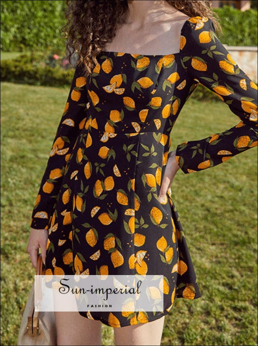 Black Mini Dress Lemon Fruit Print Square Neckline and Lone Sleeve A-lone Cut Vintage mini dress lemon fruit print square neckline lone