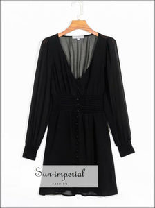 Black Mini Long Sleeve Chiffon Buttoned Deep V Neck Dresses SUN-IMPERIAL United States