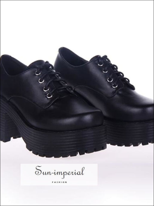 Black Punk Lace up Oxfords Vegan Leather with Short Block Heel and Chunky Treaded Soles casual style, harajuku SHOES, Preppy Style Clothes,