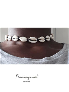 Black Rope Chain Natural Seashell Choker Necklace SUN-IMPERIAL United States