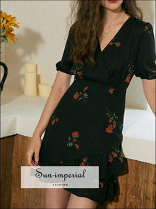 Black Rose Flower Print V-neck Short Puff Sleeve Mini Dress with Ruffles detail vintage style SUN-IMPERIAL United States