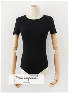 Black Short Sleeve Ribbed Backless Bodysuit with Tie detail SUN-IMPERIAL United States