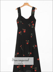 Black Vintage Chiffon Red Rose Print Midi Dress Wide Cami Strap Maxi dress SUN-IMPERIAL United States